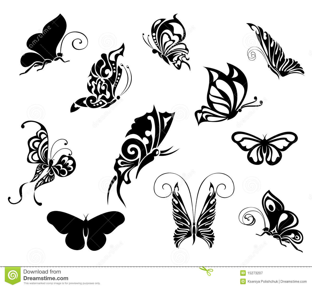 set of tattoo butterflies tattoo design stock vector illustration of brand model 15273207. Black Bedroom Furniture Sets. Home Design Ideas