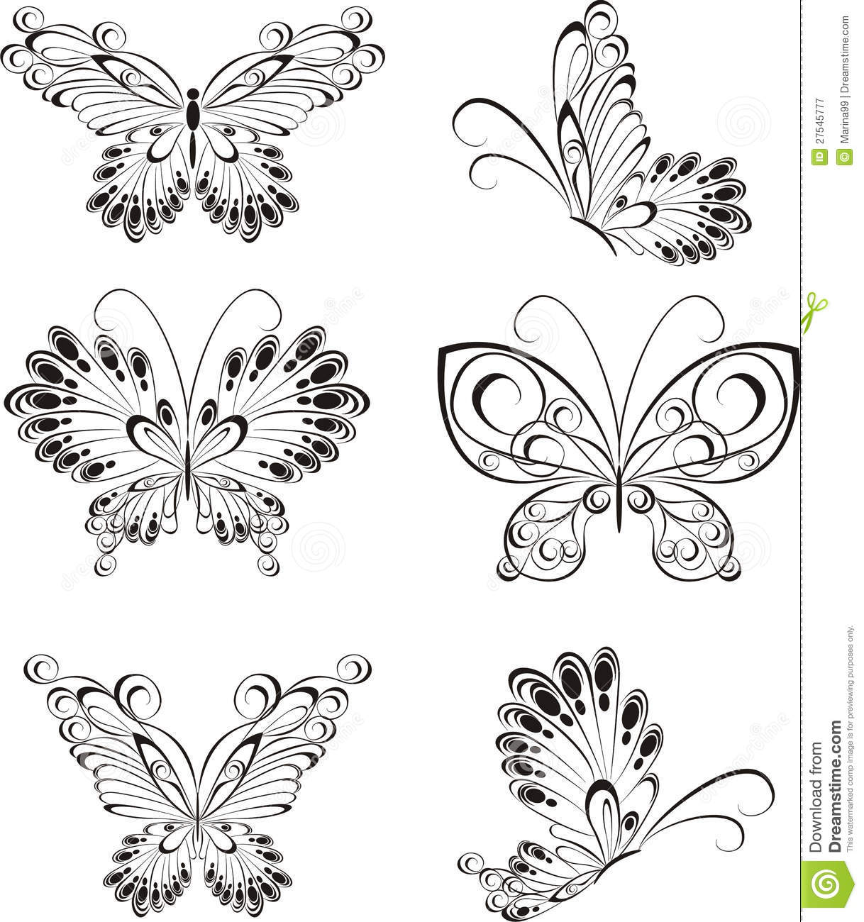 Set Tattoo Butterfly Stock Vector Illustration Of Flower