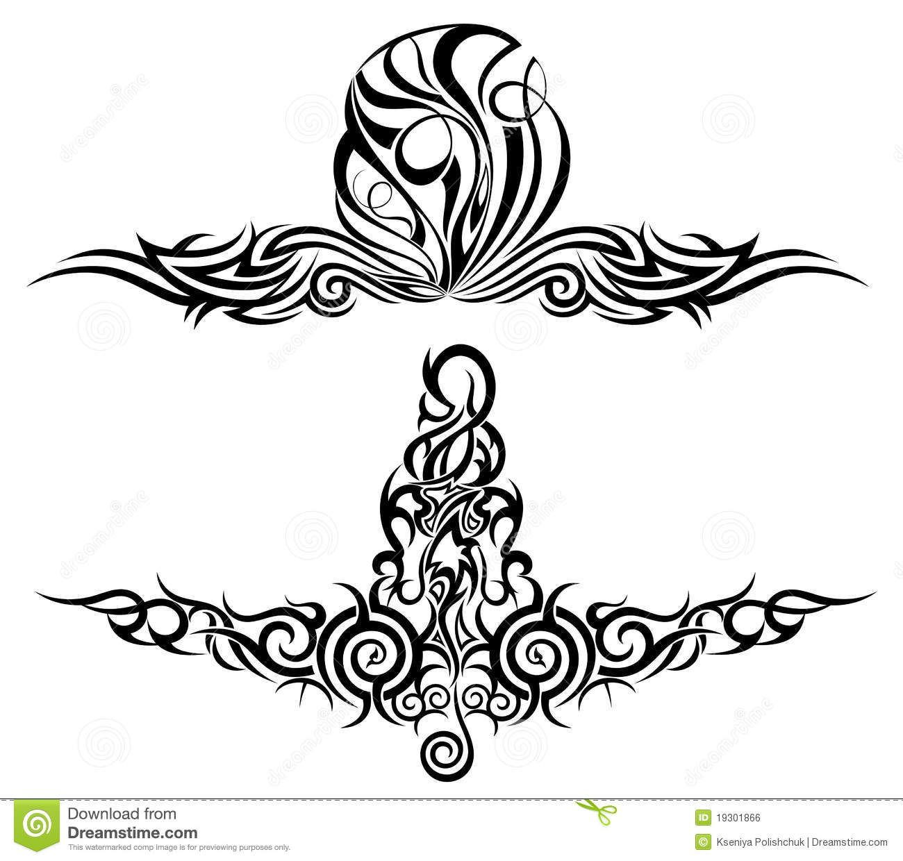 Set of tattoo design elements vector royalty free stock image image