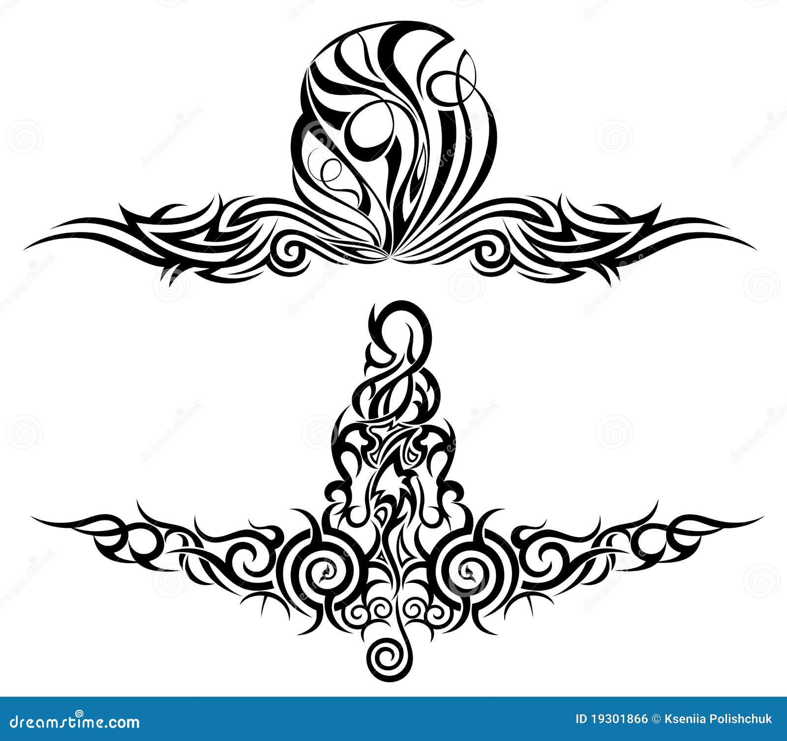 set of tattoo design elements vector royalty free stock image 19301866. Black Bedroom Furniture Sets. Home Design Ideas