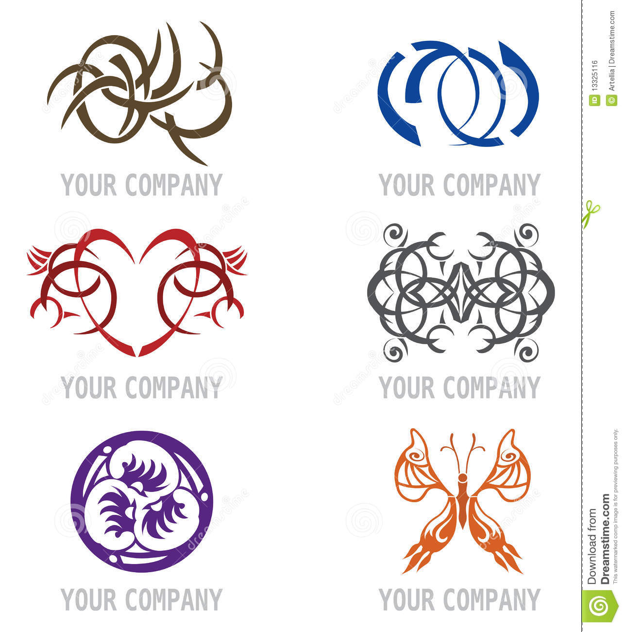 Set of tattoo icons for logo design stock vector image for Tattoo style logo design