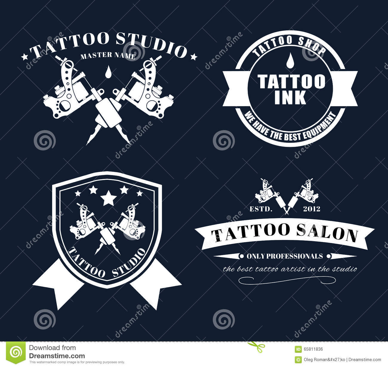 Set tattoo logos of different styles stock vector image for Tattoo style logo design