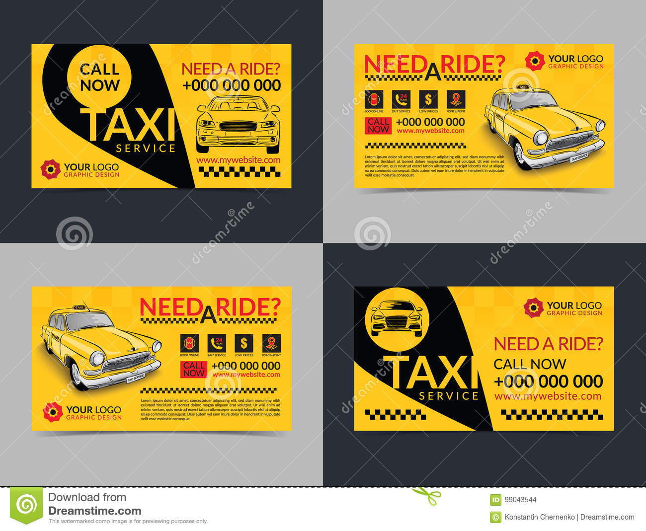 Set Of Taxi Service Business Cards Layout Templates Create Your Own