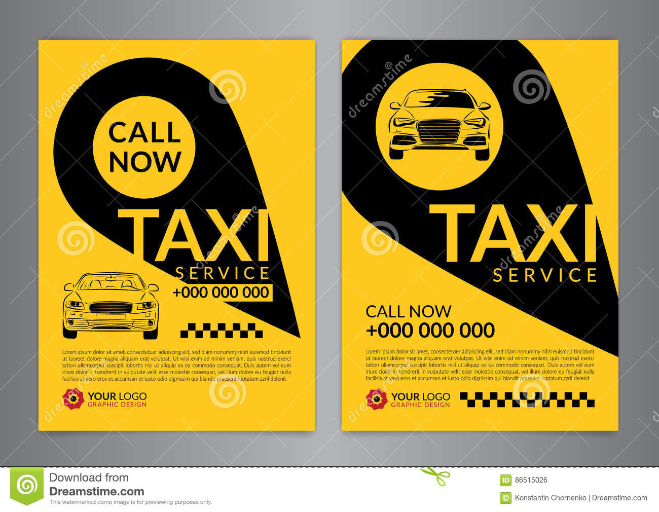 Set Of Taxi Service Business Layout Templates A4 Call Taxi Concept