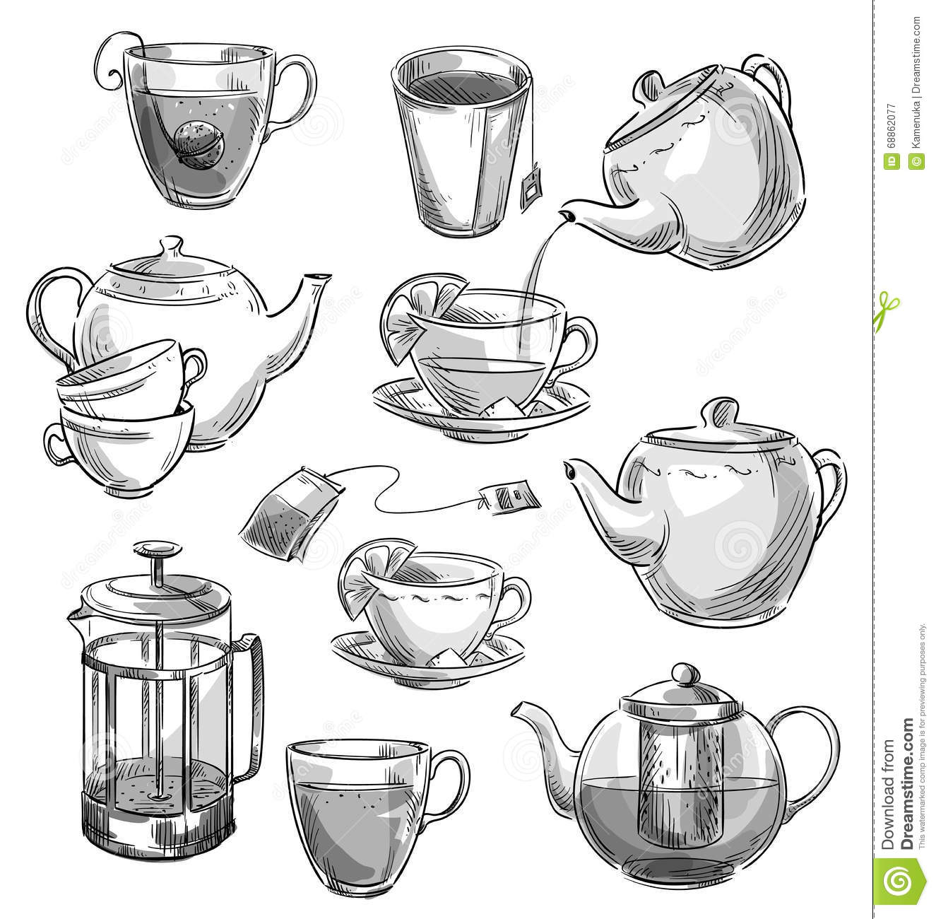 set of tea cups and teapots vector sketch stock vector illustration of glass drink 68862077 dreamstime com