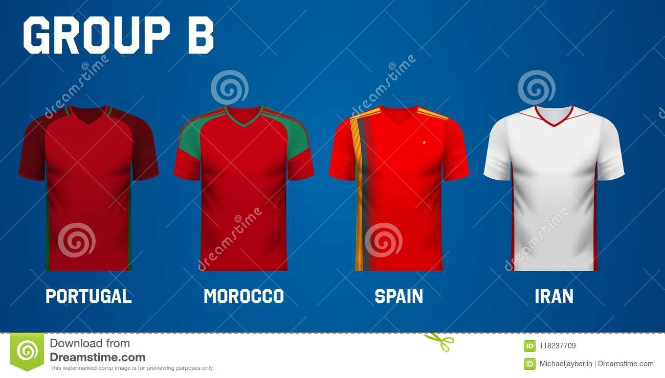 baacf1ac9 Set of national team jersey shirts for group B in a football tournament in  Russia