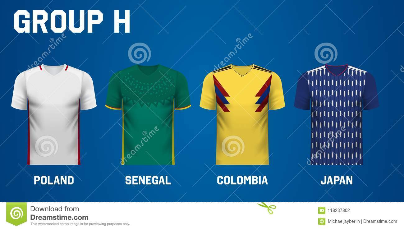 finest selection 15691 b36e7 Set Of Team Jersey For Group H Of Football Tournament In ...