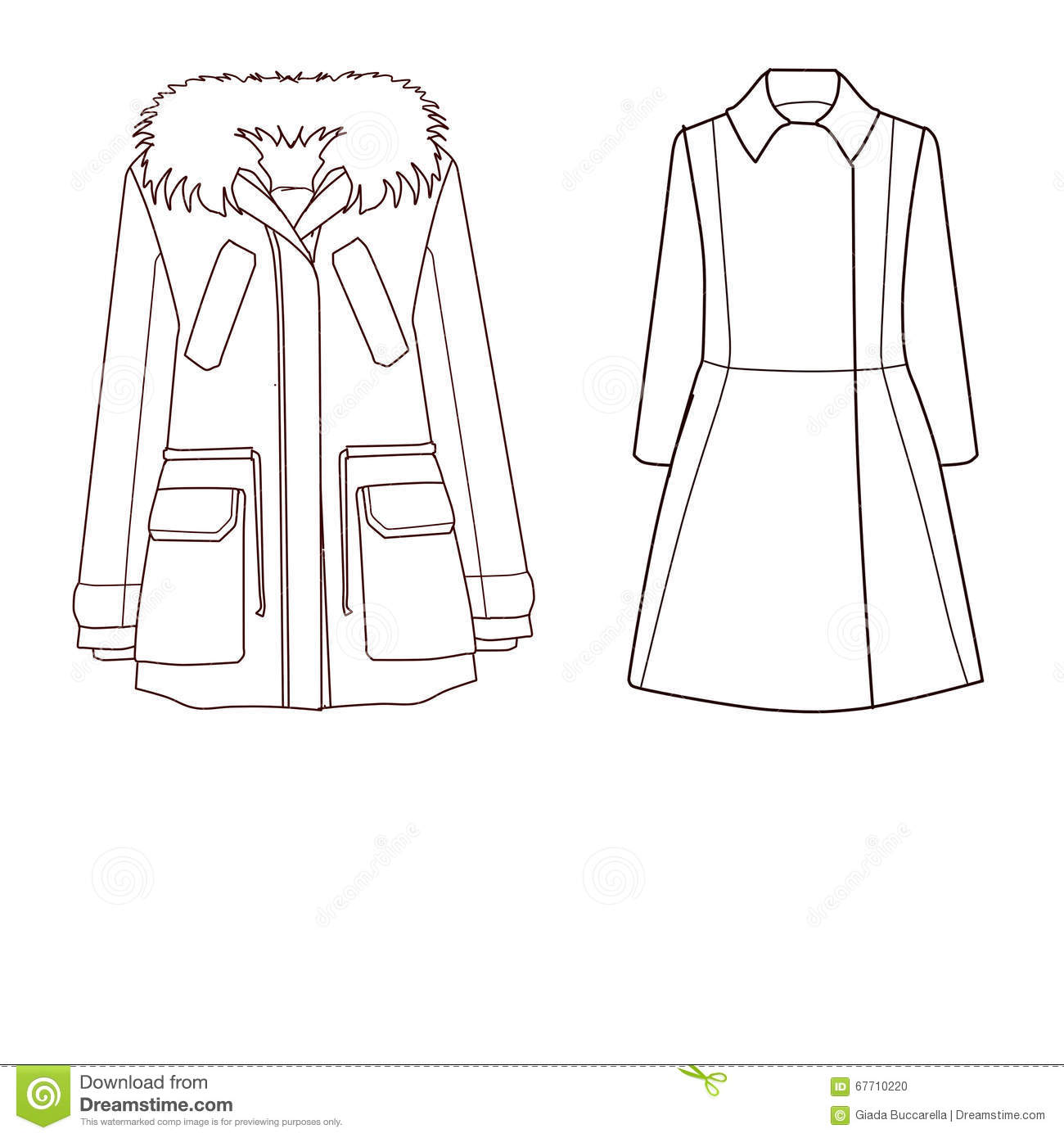 set of technical and industrial flat fashion template coat