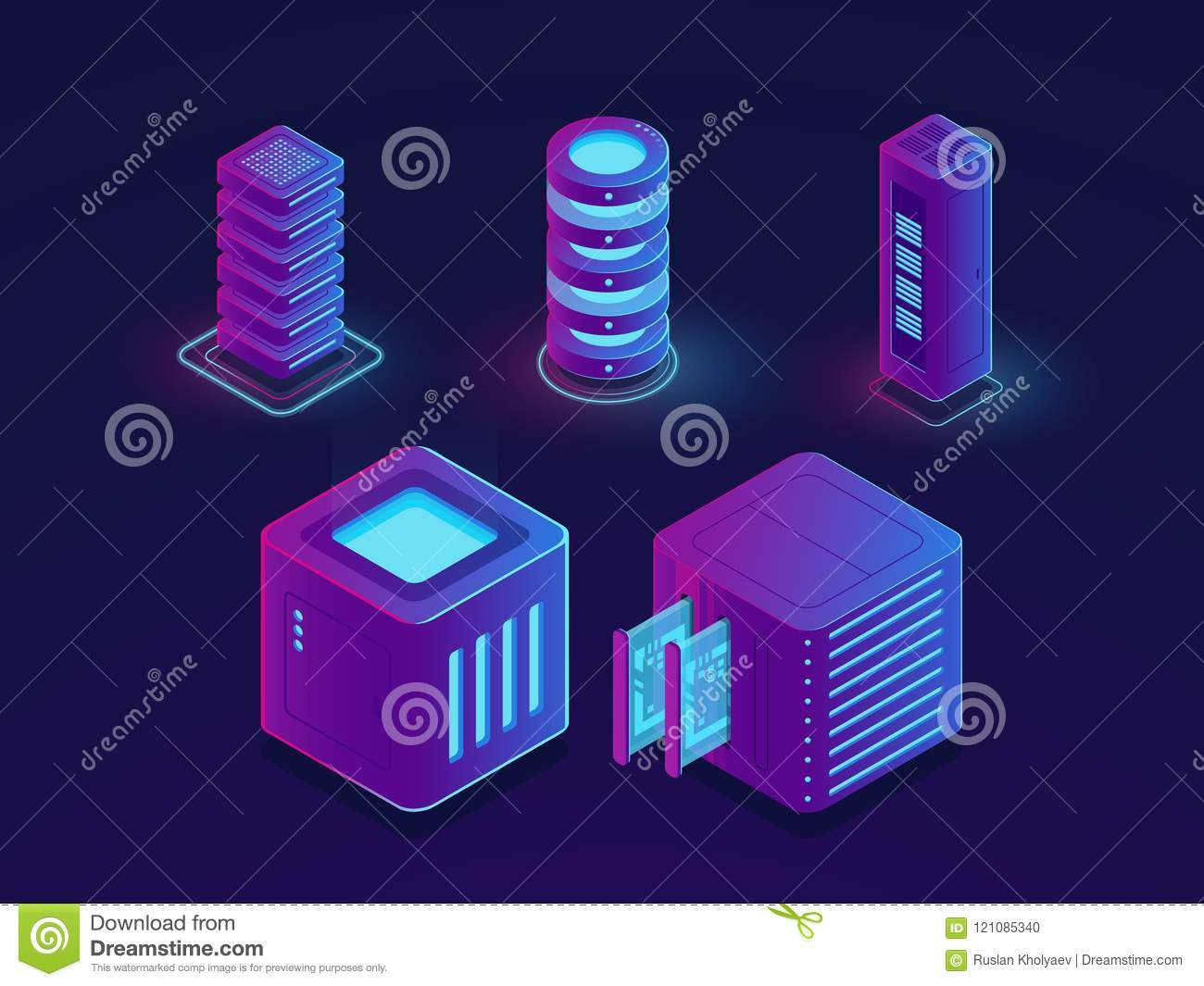 Set of technology elements, server room, cloud data storage, future data science progress objects isometric vector