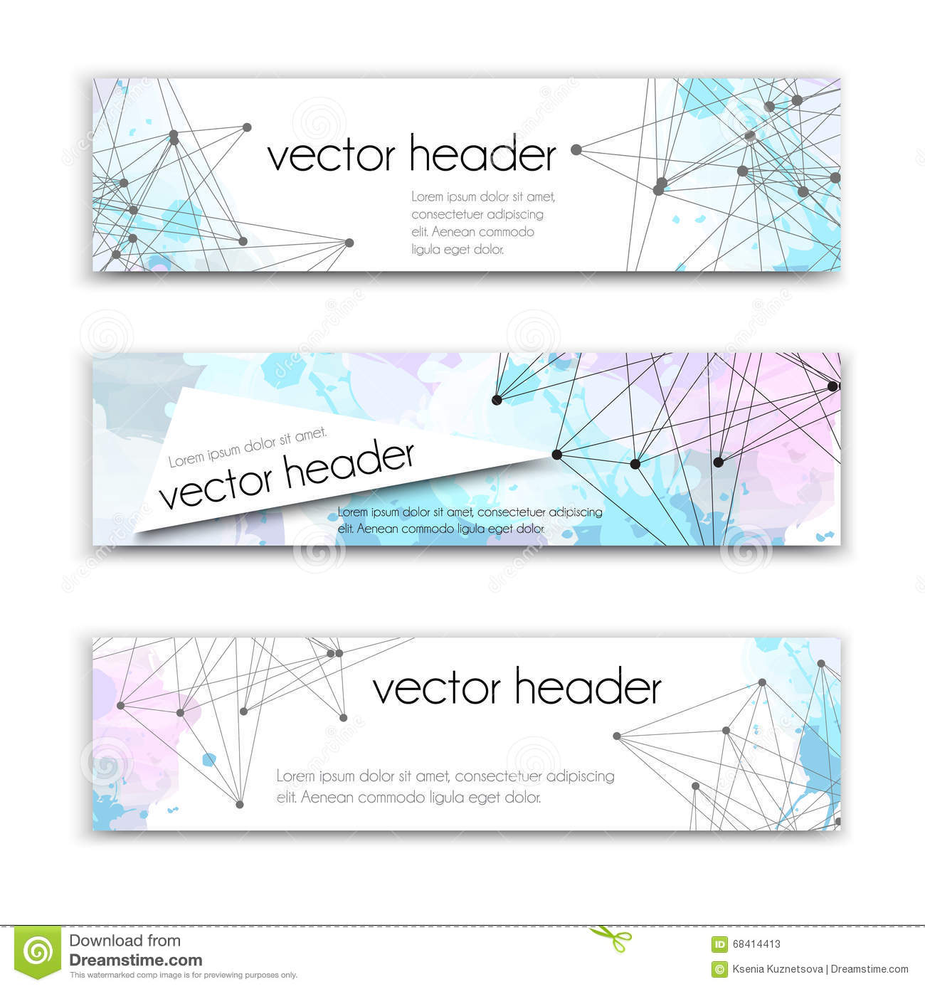 Vector Illustration Web Designs: Set Of Technology Vector Banners Template Or Website