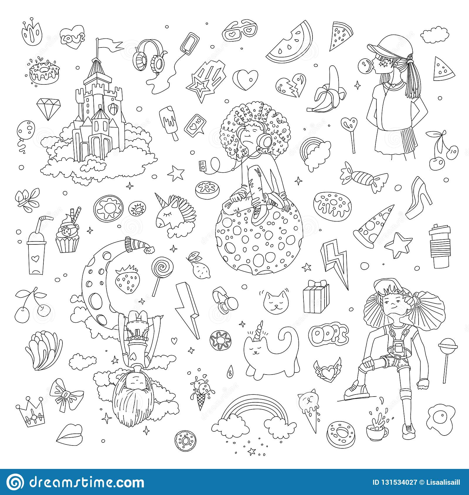 Set of teenage girl line icons, cute cartoon teen objects, fun line design vector in teenager girls concept. Doodle icon