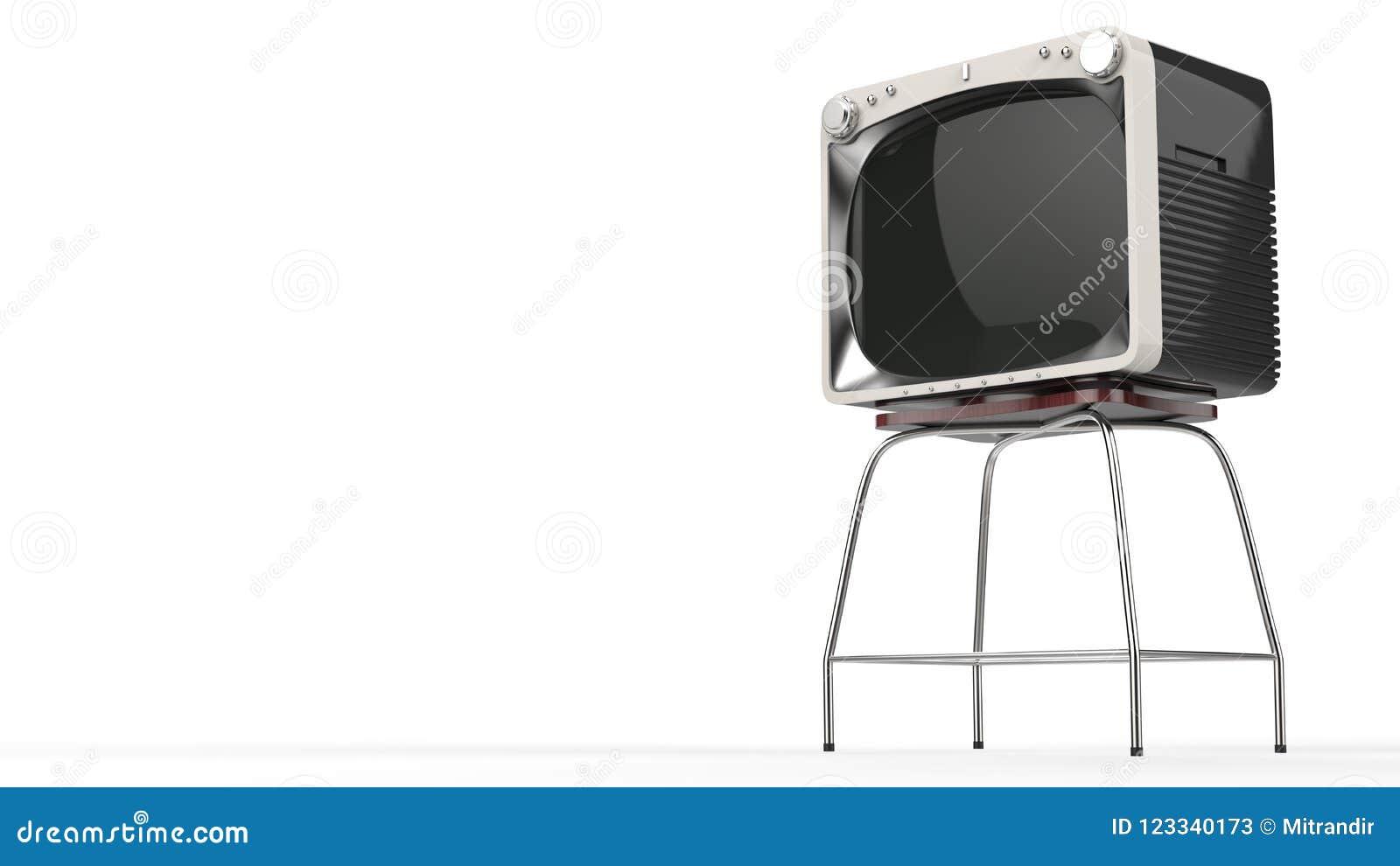 Set televisivo nero d annata con la parte anteriore bianca su un supporto