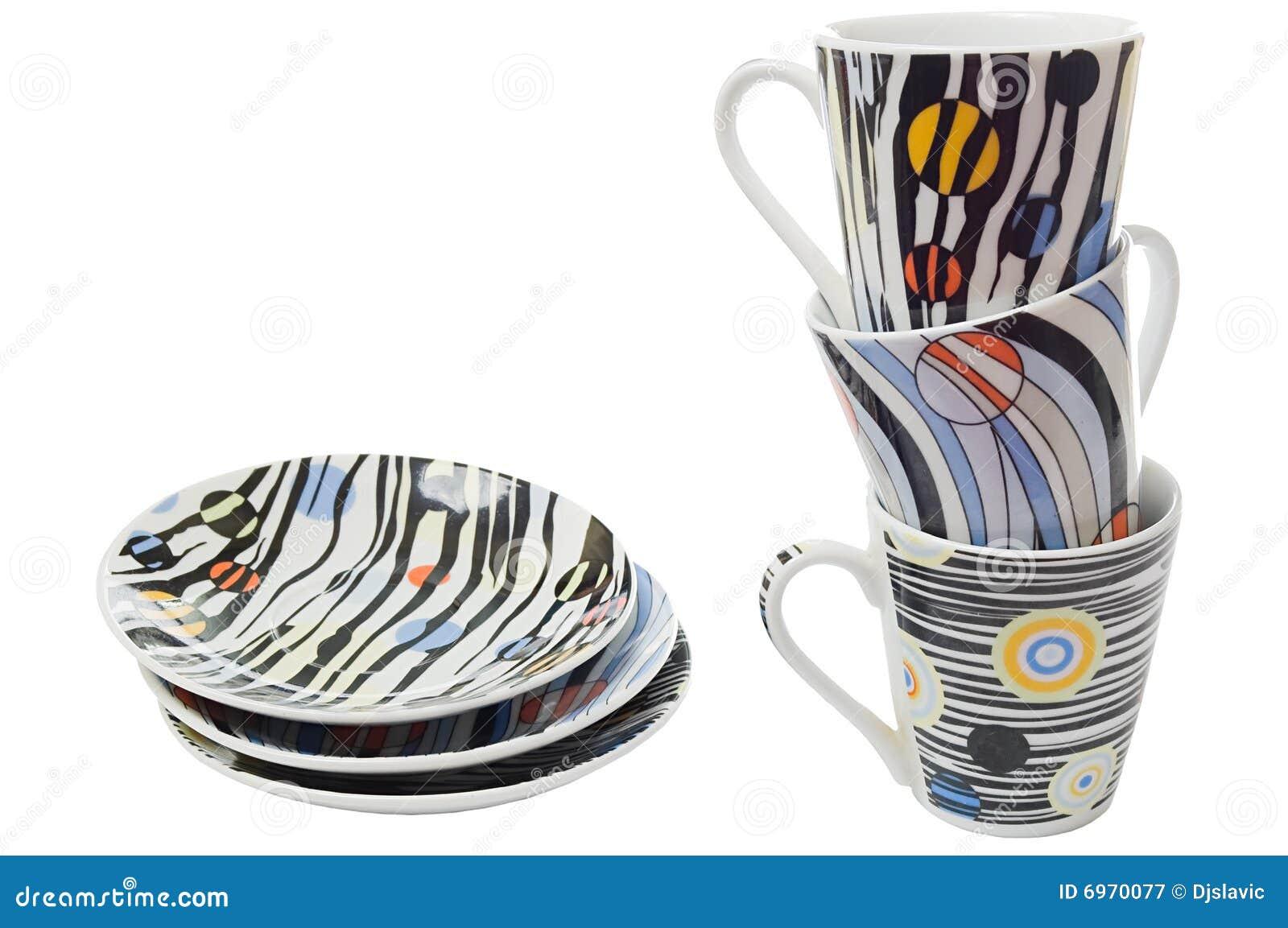 Set Teller und Cup für Kaffee