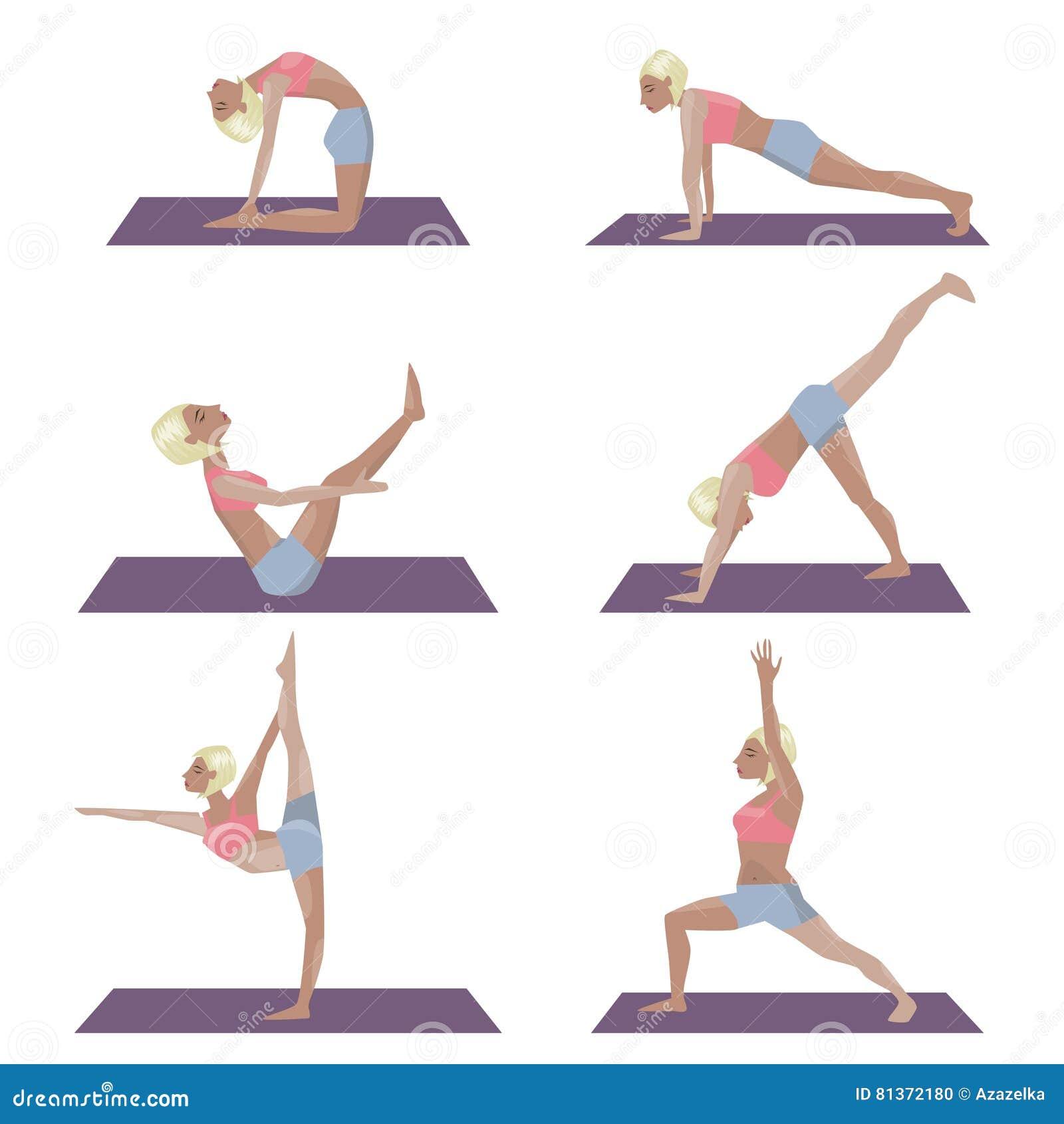 Set Of Template With Blonde Girl Doing Yoga Exercises Good For Yoga Studio Yoga Class Yoga Center Stock Vector Illustration Of Asana Background 81372180