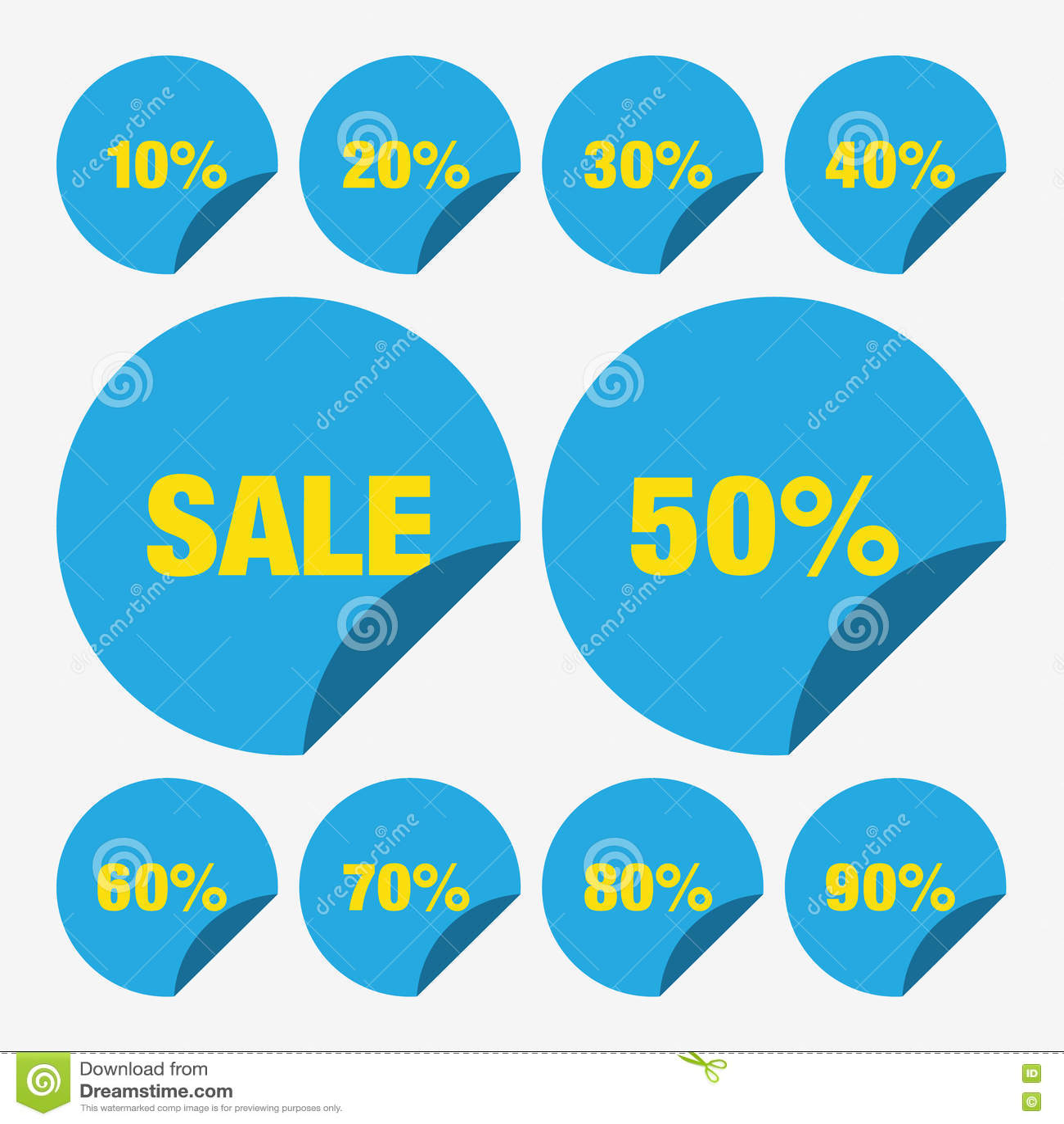 set template blue sale tag vector icon percent tag sale vector set