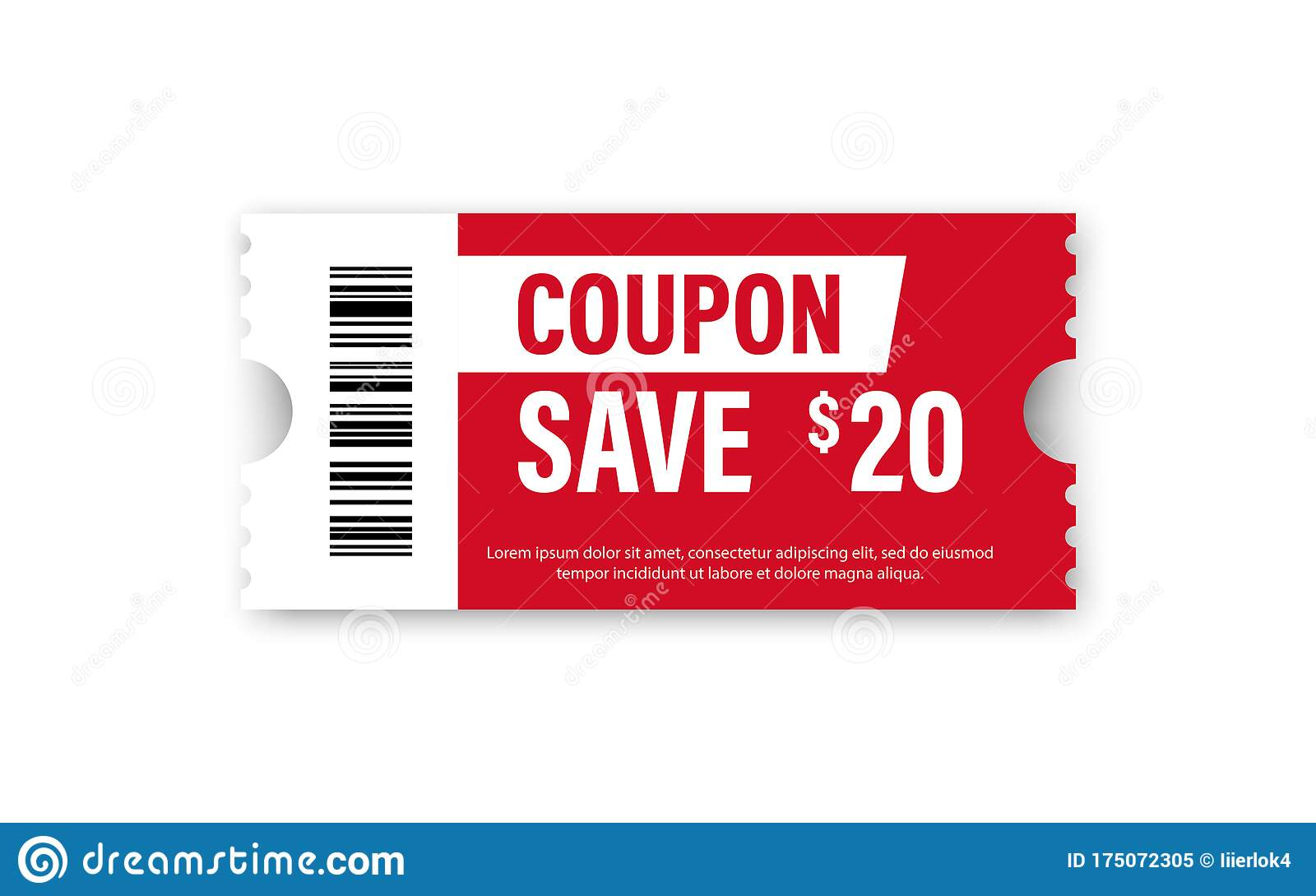 Set Of Template Coupon Gift Coupon Element Template Graphics Design Voucher Promo Code Shopping Marketing Food And Drink Stock Vector Illustration Of Isolated Present 175072305
