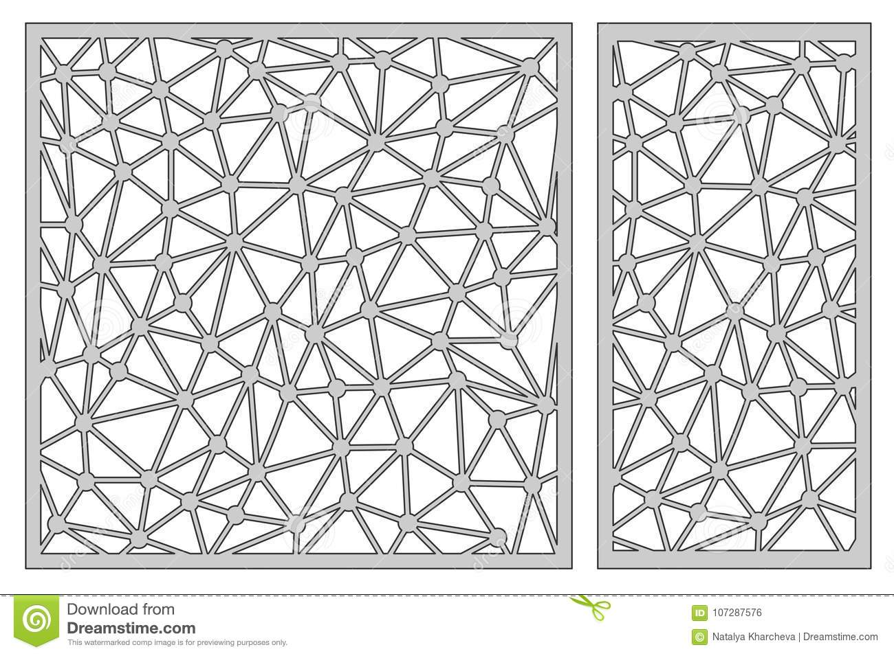 Set Template For Cutting. Abstract Line Pattern. Laser Cut. Rati ...