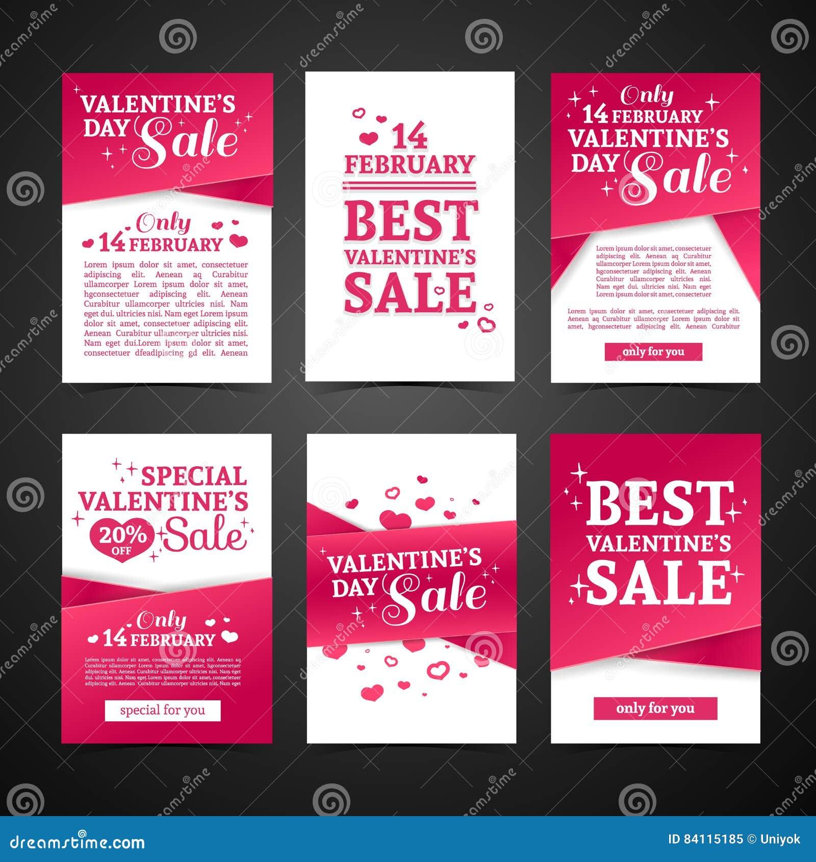 Set Template Design Happy Valentine`s Day Horizontal