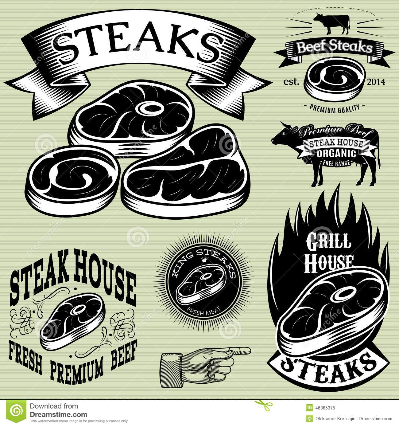 Set Template For Grilling, Barbecue, Steak House, Menu Stock Photo ...