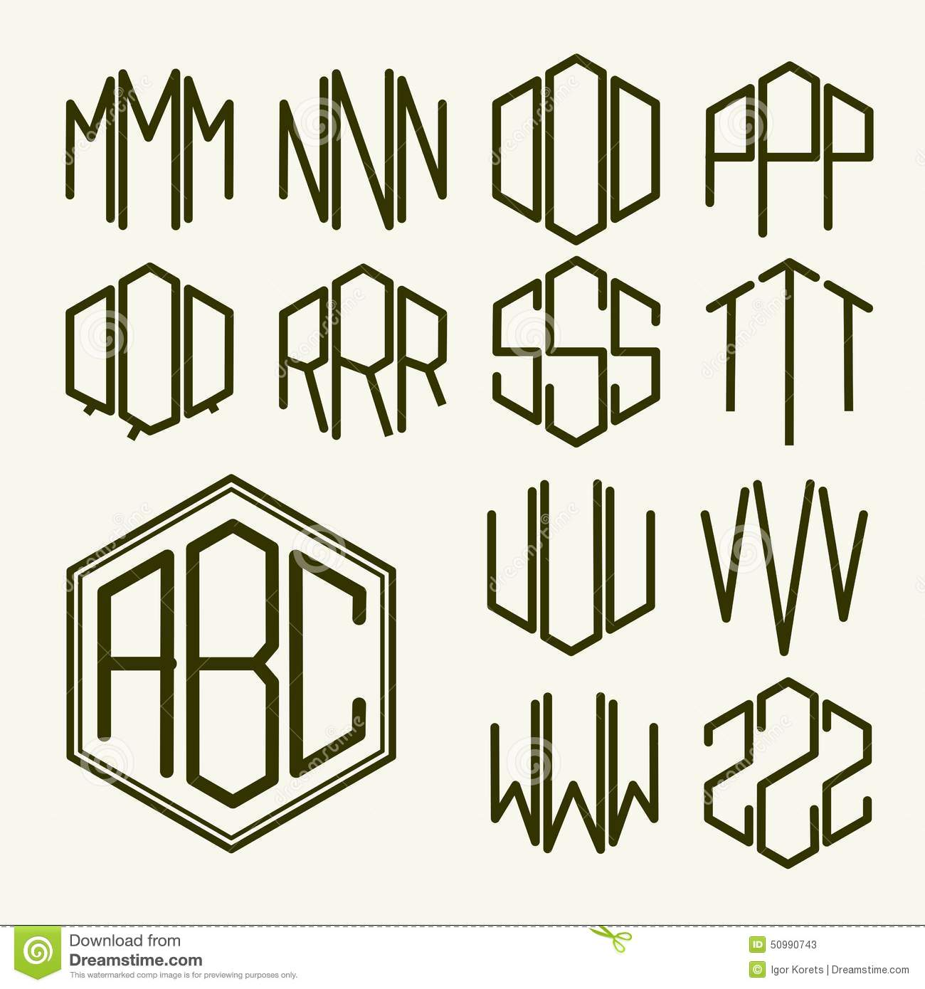 set 2 template letters to create a monogram