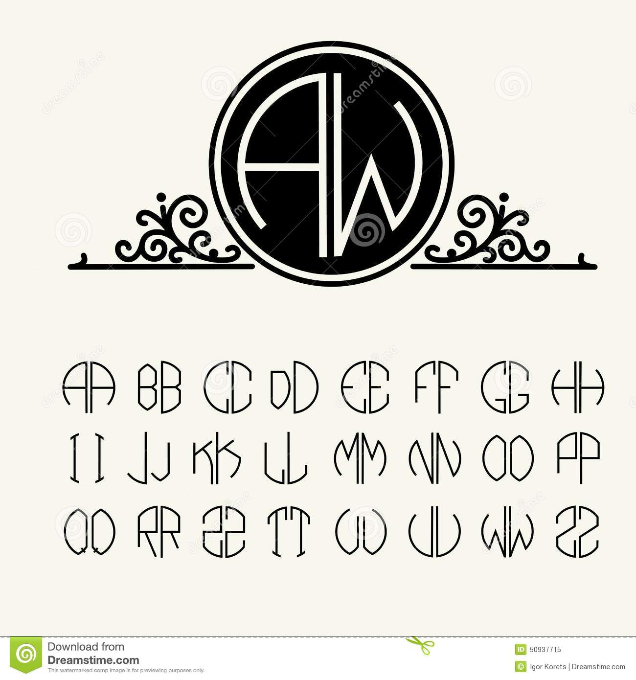set template letters to create monograms stock vector