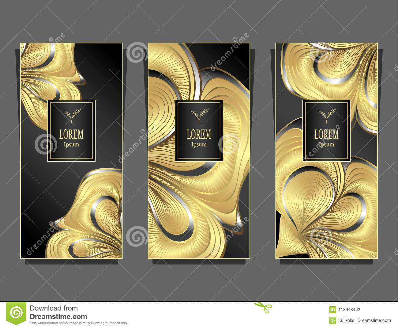 set template for package from luxury background made by foil in