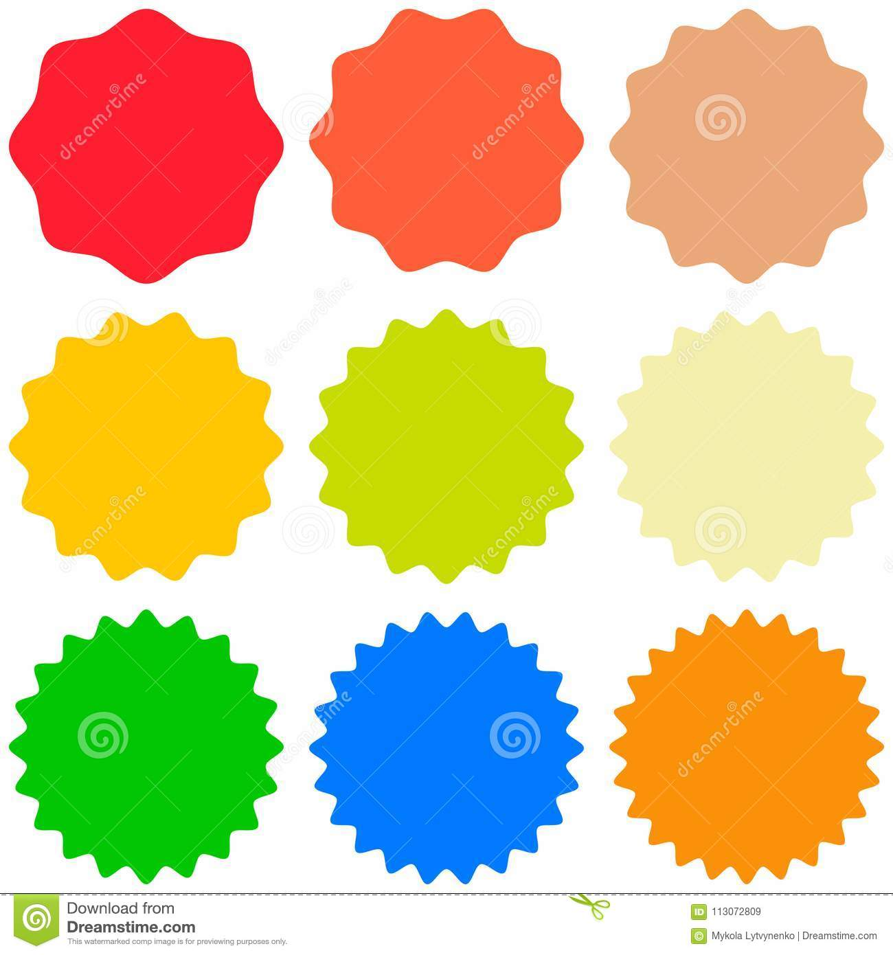 set template sunburst shapes badges vector starburst promo burst