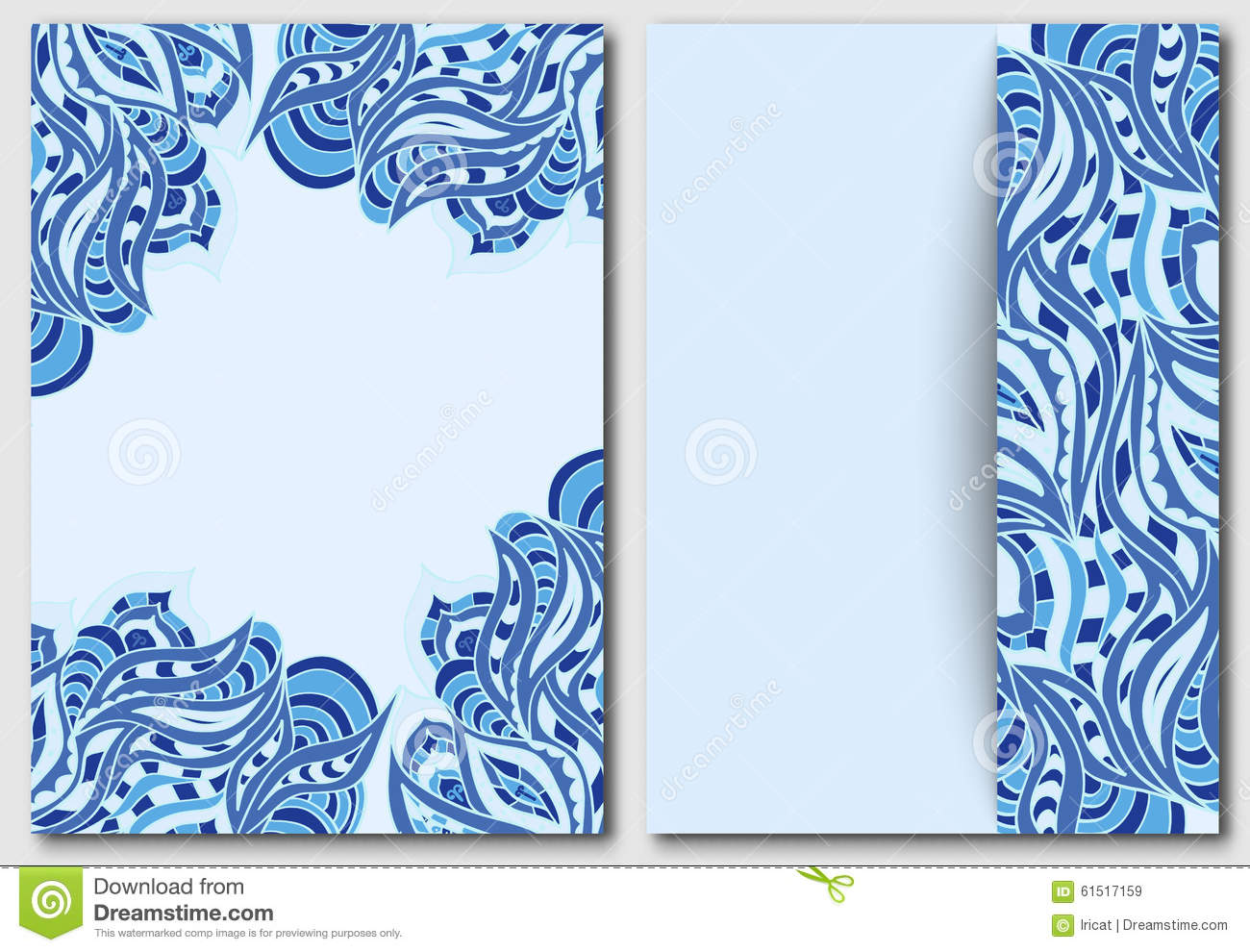 Set Of Template With Waves Element For Design Invitations