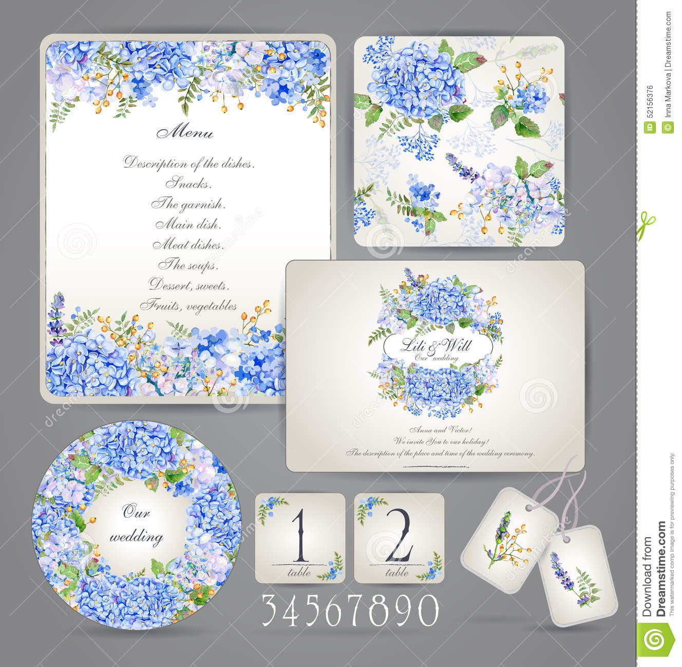 Wedding invitation template set. Botanical card with hydrangea.