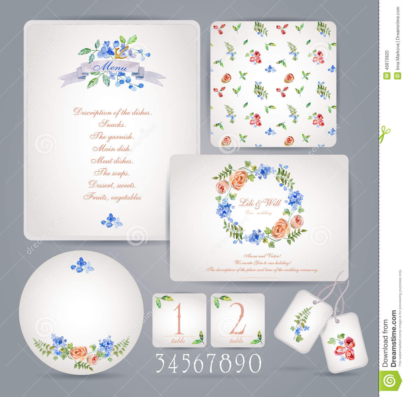 Set Of Templates For Celebration Wedding Stock Vector - Celebrate it templates place cards