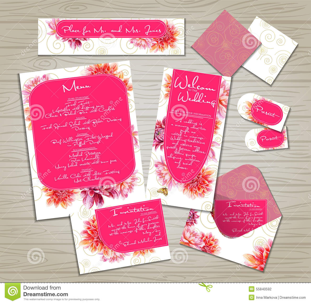Wedding Letterhead Template Set Of Templates For Celebration