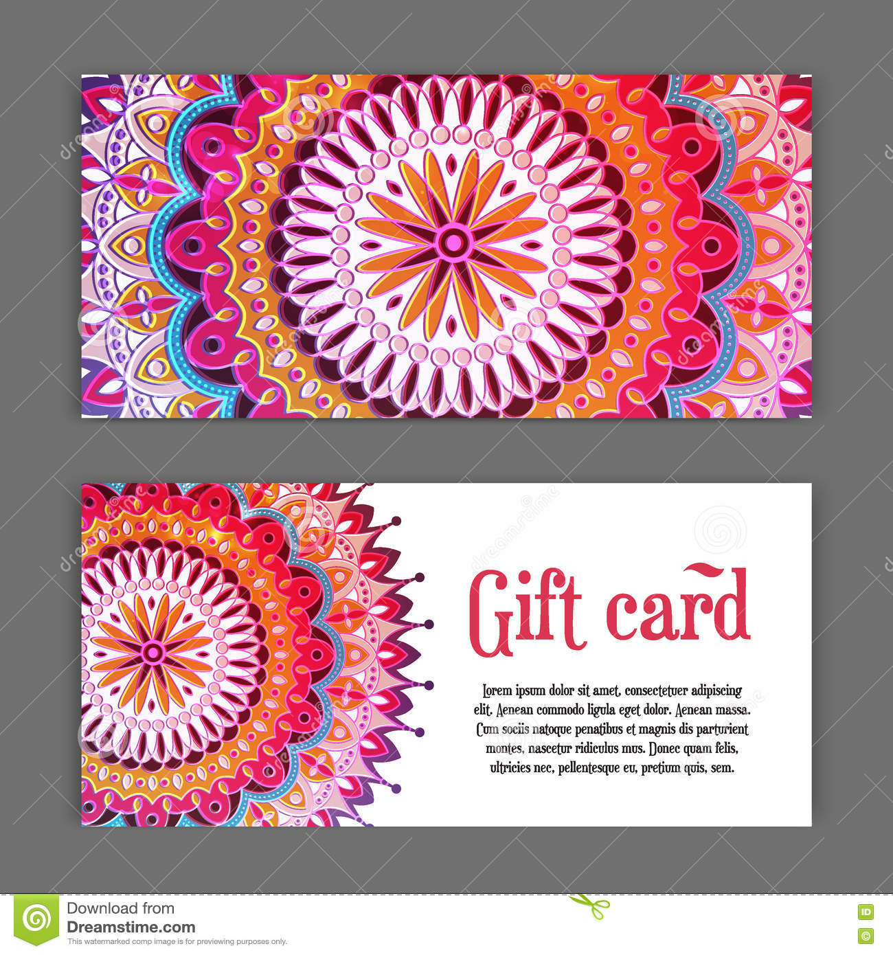 set templates of gift cards with color ornament mandala for print or