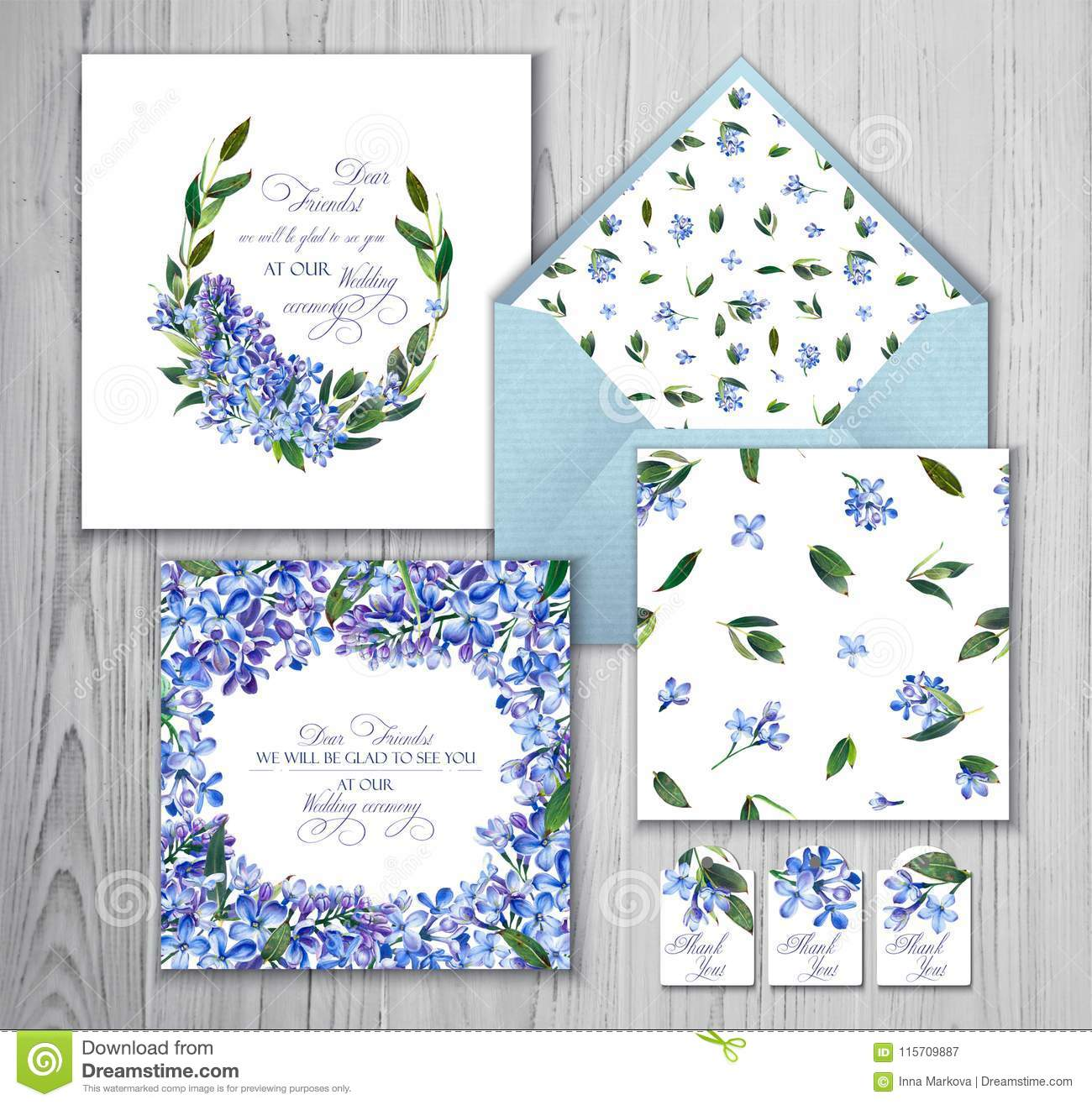 Set Of Templates For Greetings Or Invitations To The Wedding Stock