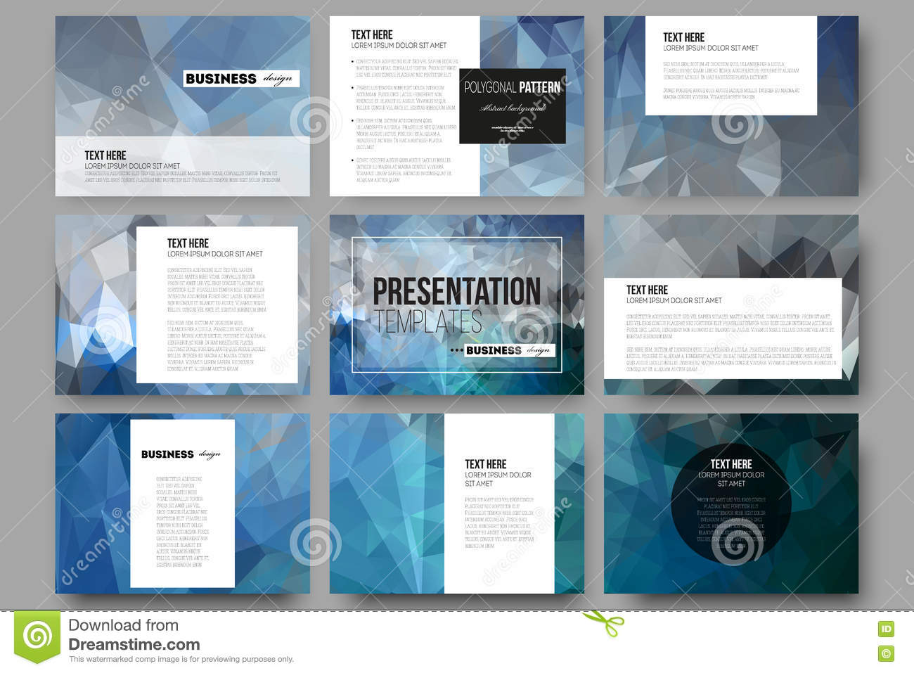 set of 9 templates for presentation slides abstract blue polygonal