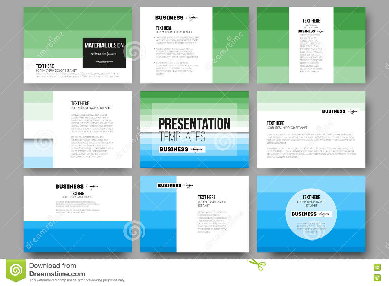 Set Of 9 Templates For Presentation Slides Abstract
