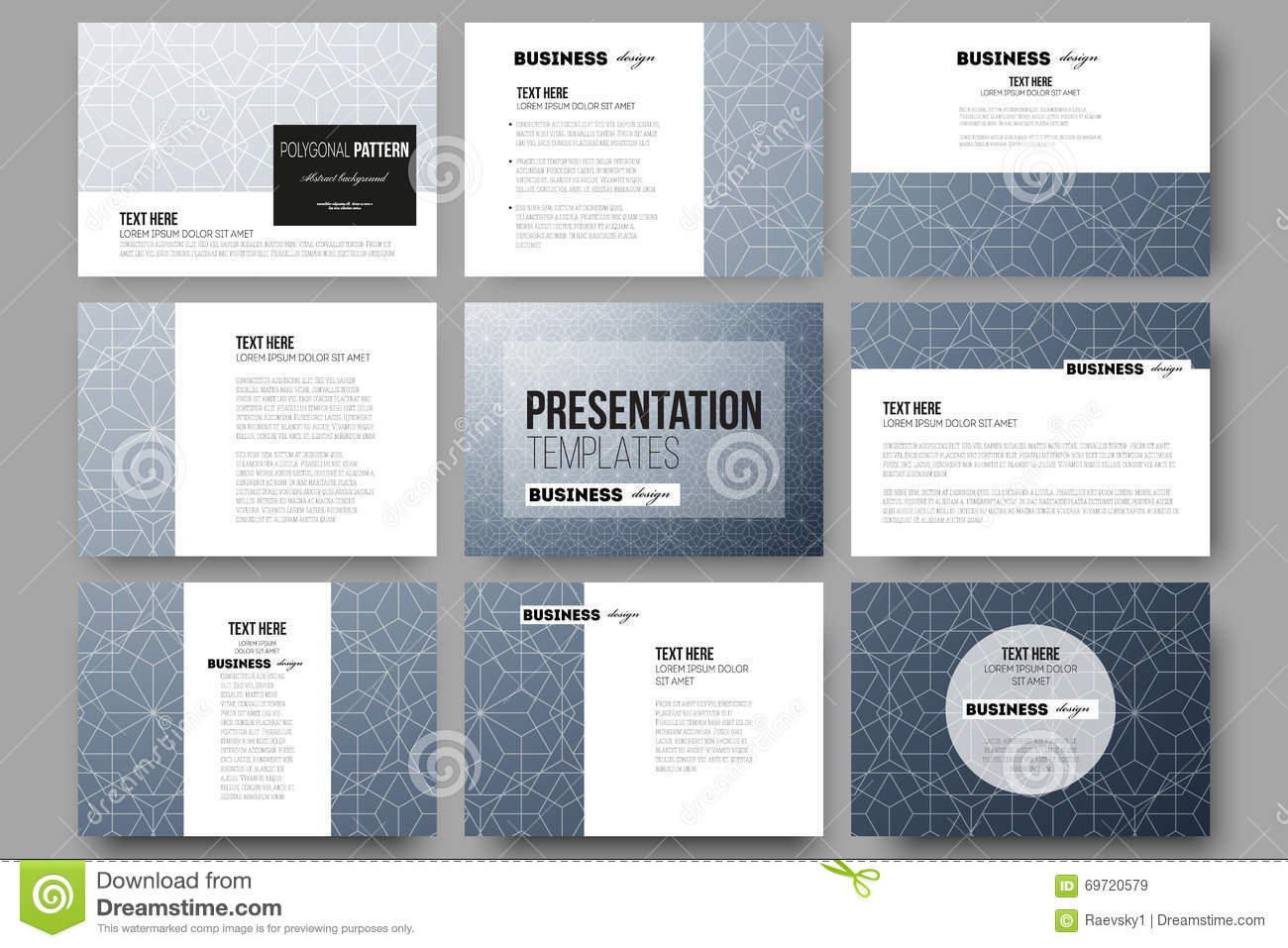 set of 9 templates for presentation slides abstract floral business