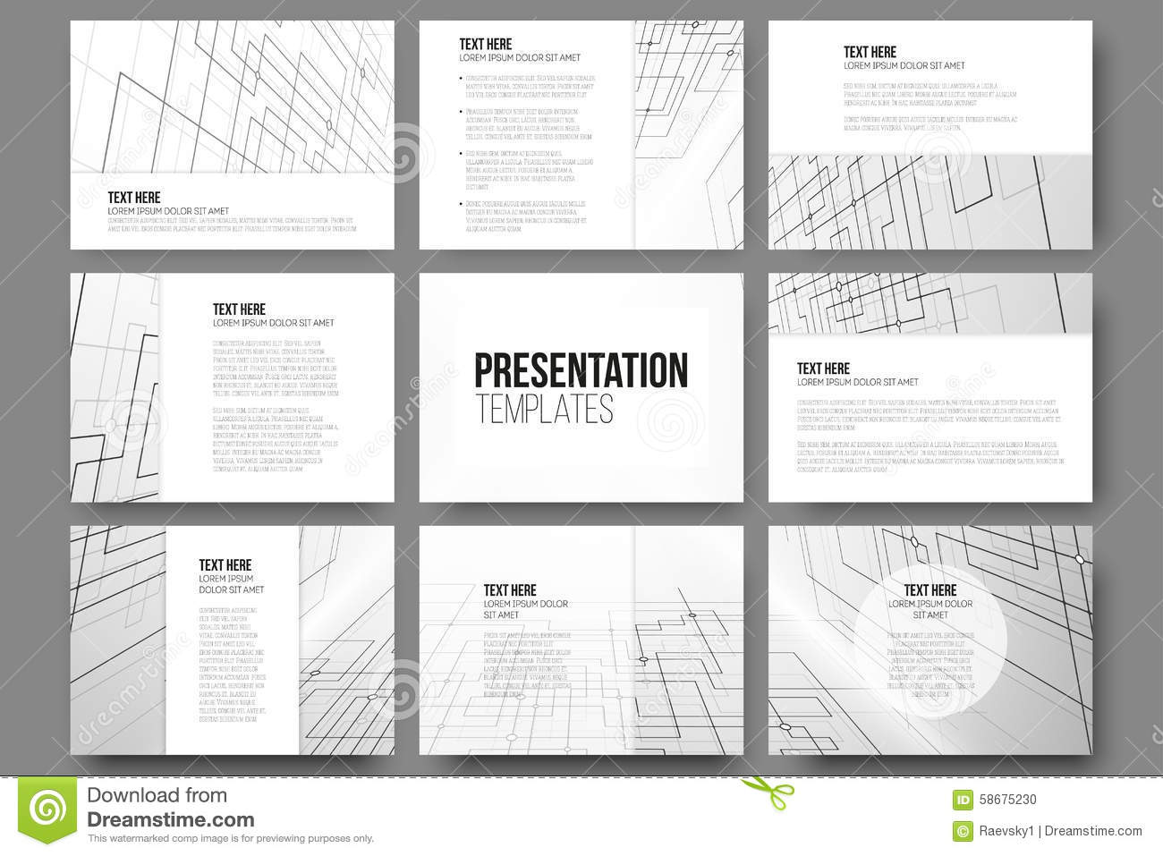 set of  templates for presentation slides stock vector  image, Templates