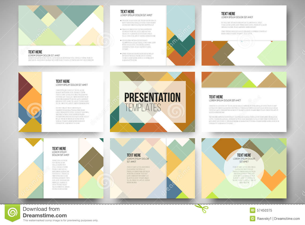 fd32a92aa6cc Set of 9 vector templates for presentation slides. Abstract colored  background
