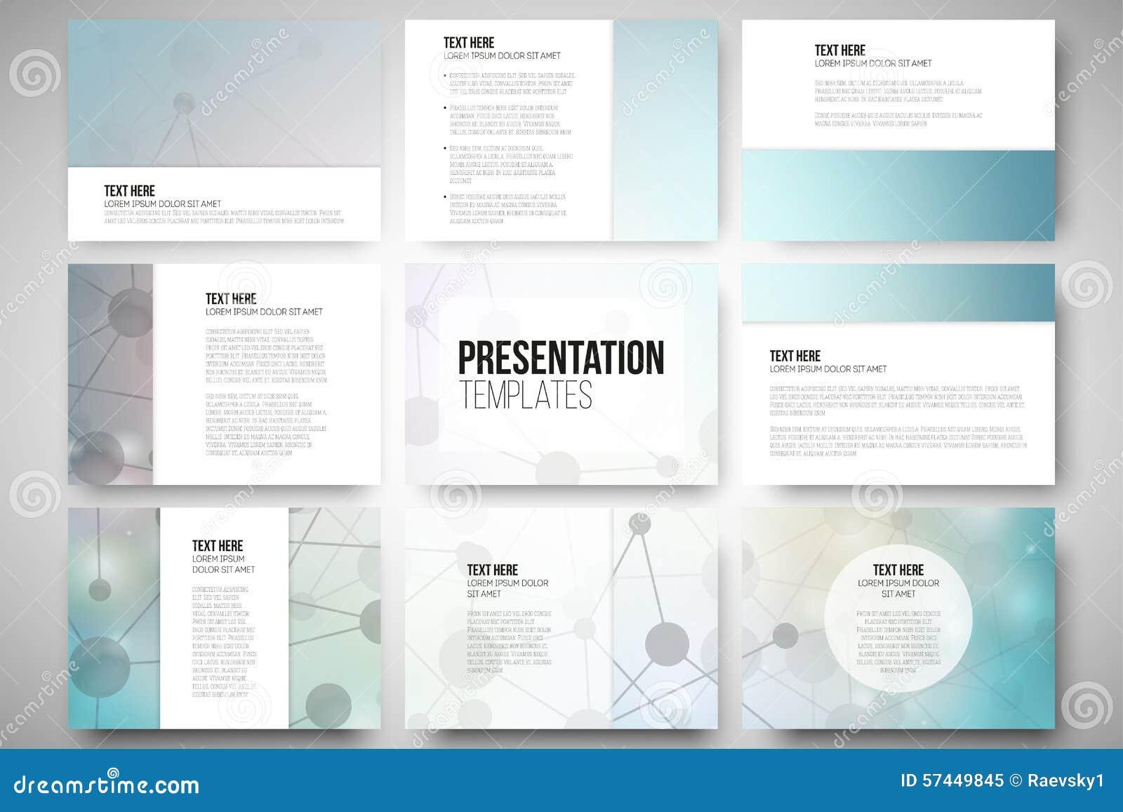 set of 9 templates for presentation slides stock vector