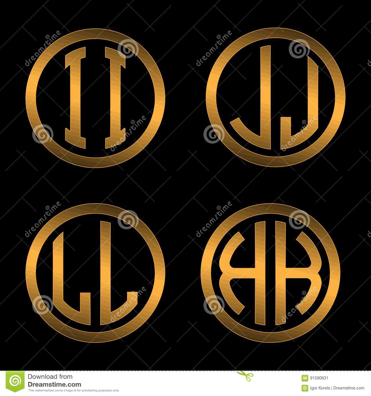 set 1 of templates from two capital golden letters on a black