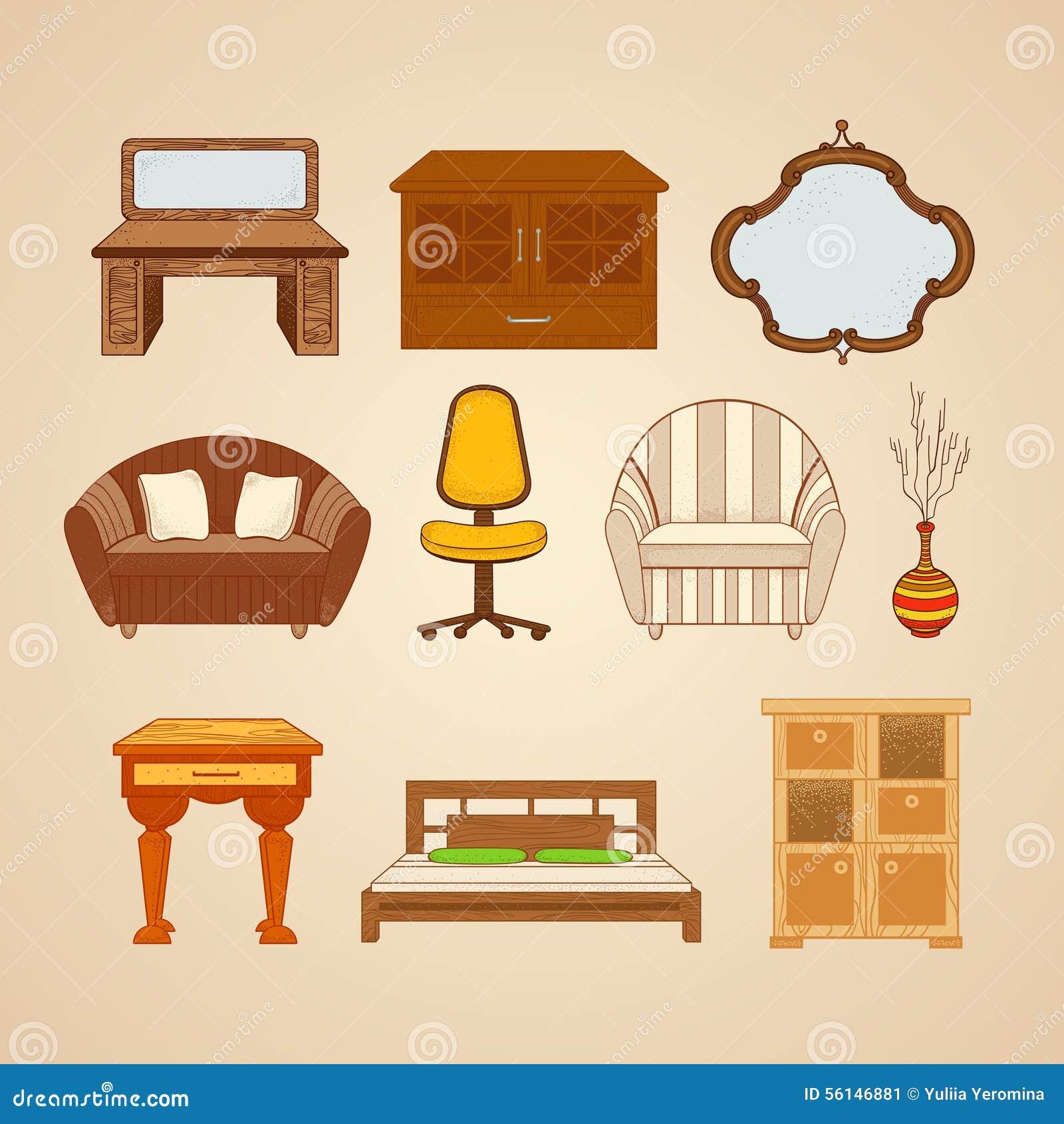 Home furnishings icons set grunge style cartoon vector for Articulos originales para el hogar