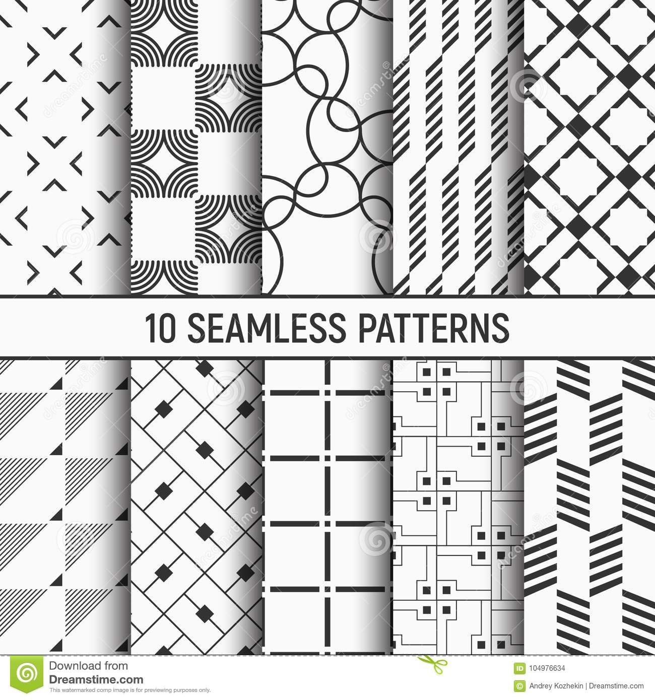 Set Of Ten Seamless Patterns Stock Vector Illustration Of Package Flat 104976634