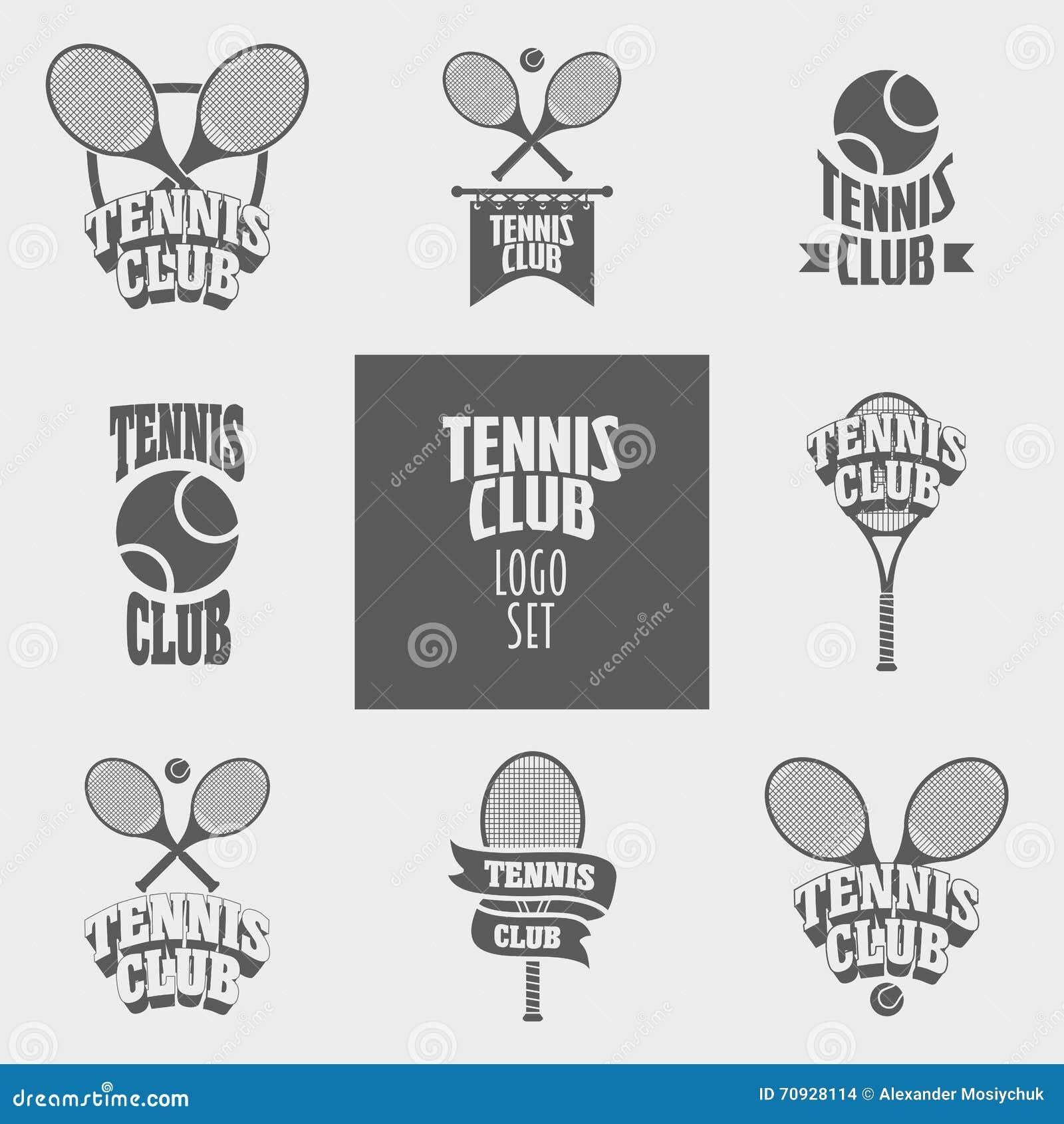 Set Of Tennis Club Logos, Badges Or Labels Design Templates Stock ...