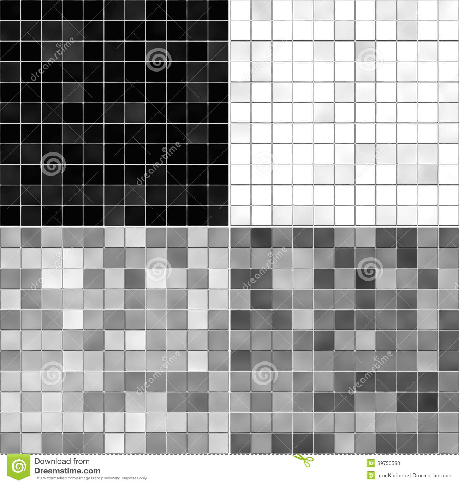 Set Texture Tile Floor White Gray And Black Stock Photo