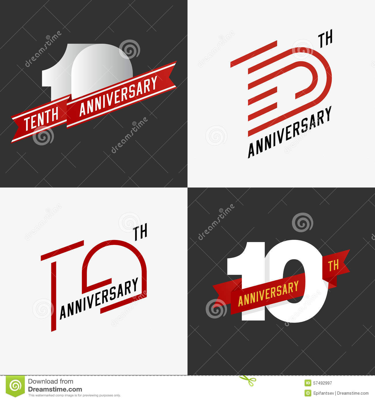 The set of 10th anniversary signs.