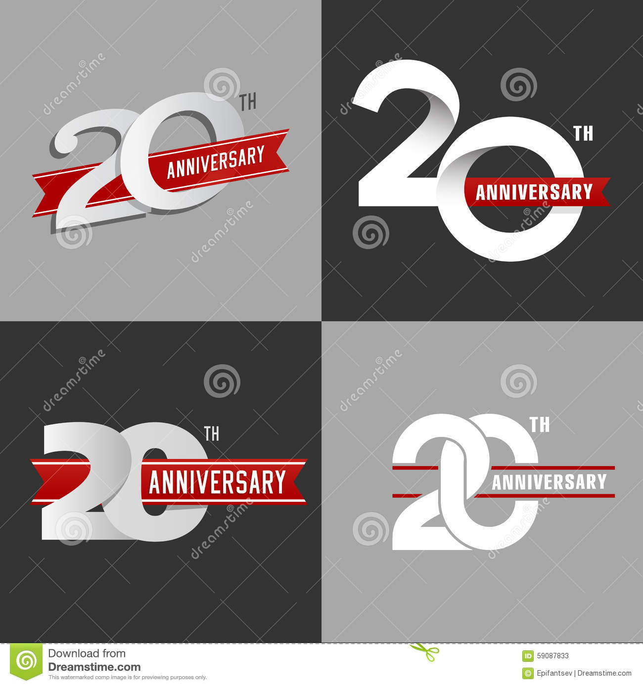 The set of 20th anniversary signs.