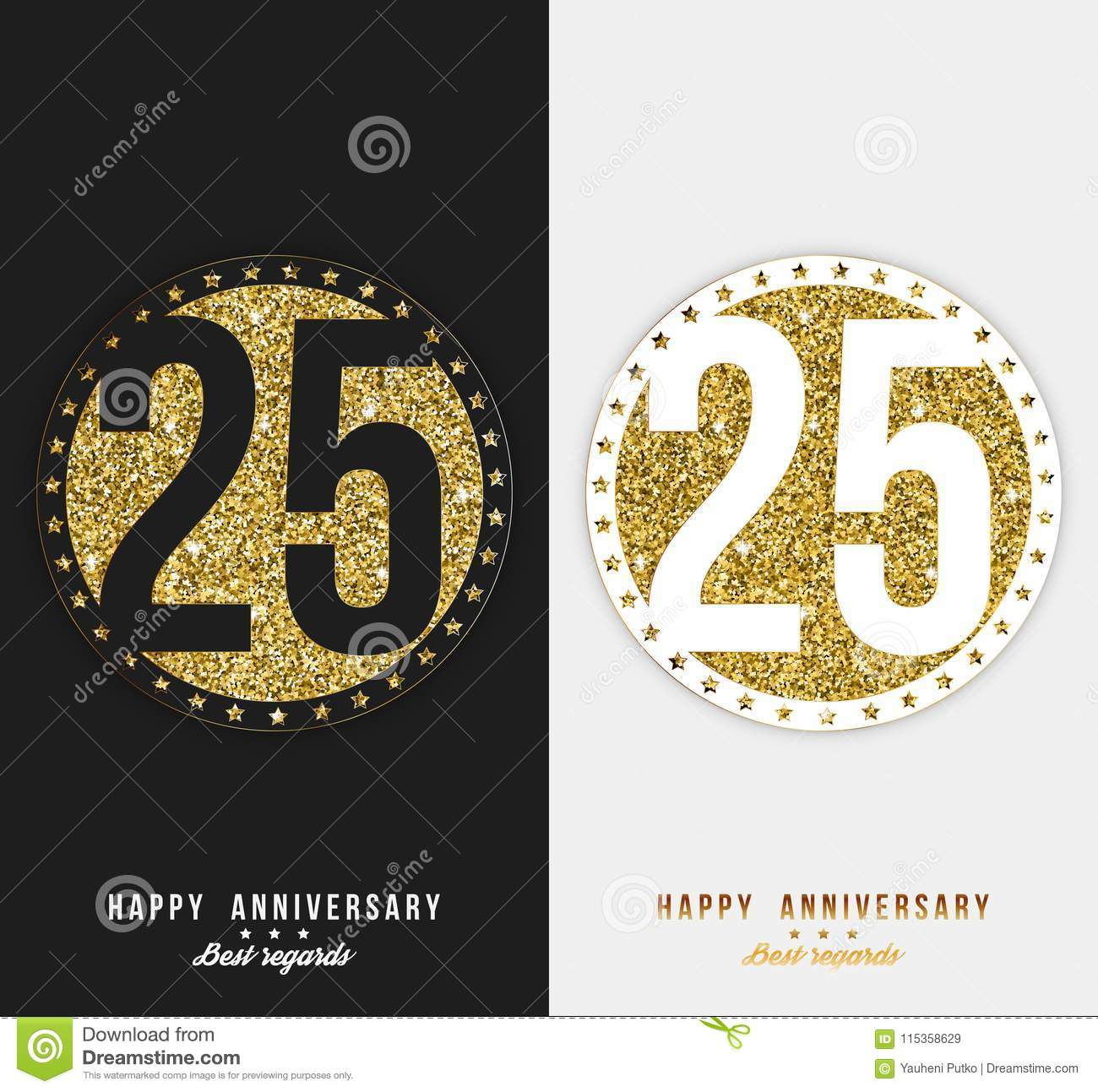 set of 25th happy anniversary cards template with gold elements
