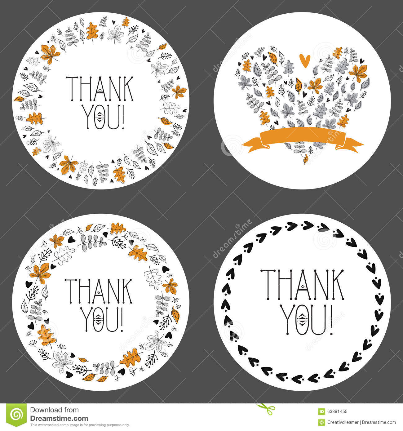 Set Of Thank You Tags Decorative Frames Gift Tags