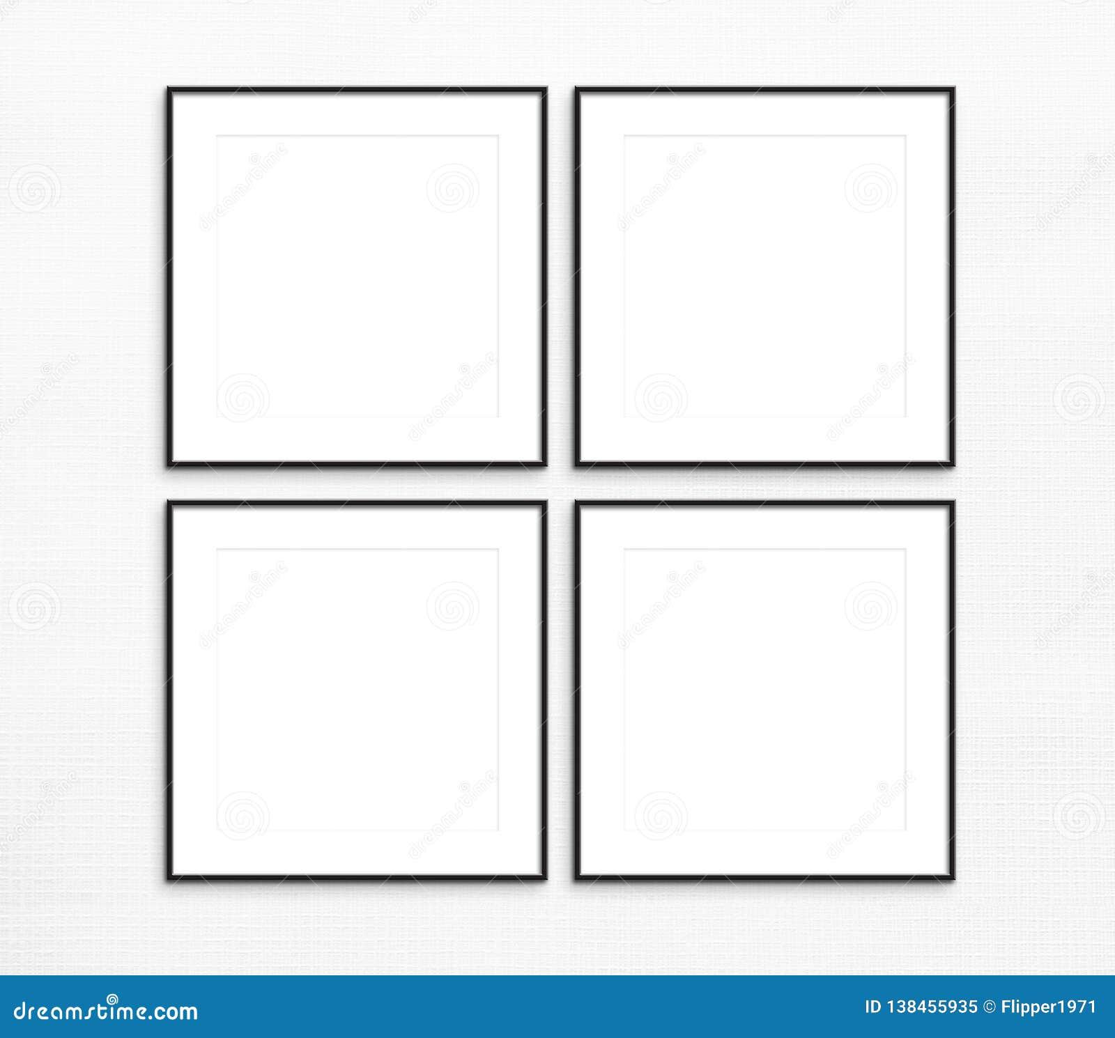 Set Of 4 Thin Black Frame Mockup, Digital Frames