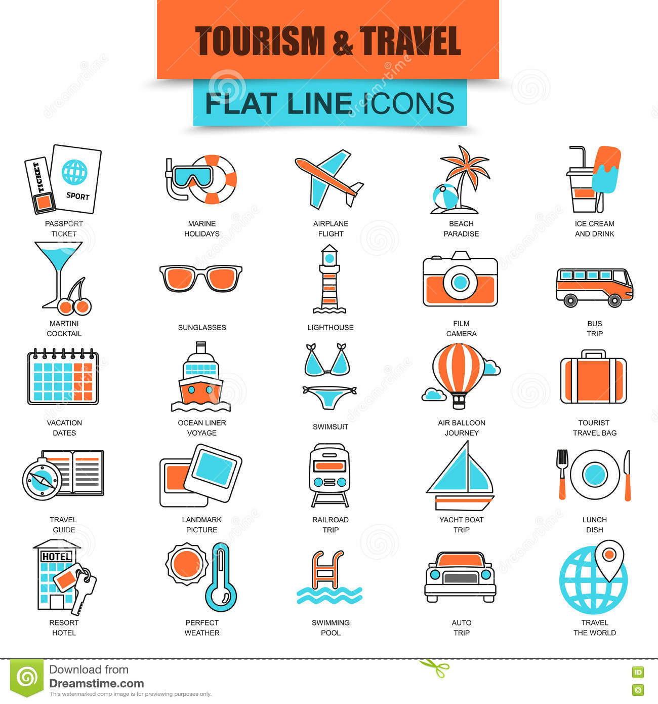 Set of thin line icons tourism recreation, travel vacation to resort hotel